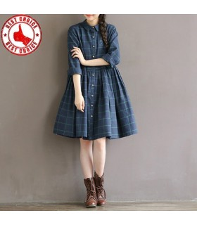 Autumn casual loose waist plaid cotton dress
