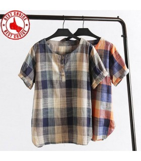 Casual women linen plaid shirt