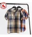 Casual women linen plaid shirt
