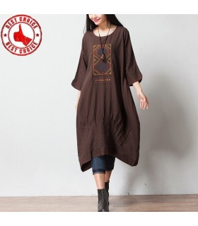 Coffee cotton linen three quarter sleeve dress