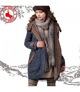 Vintage Kapuzen Kokon geformt Mantel