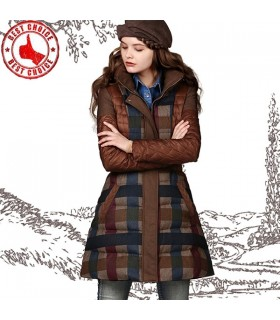 Gorgeous plaid pattern coat with duck down
