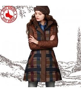 Splendido cappotto motivo scozzese con piuma d'oca
