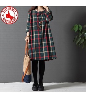 Vintage linen plaid long shirt dress