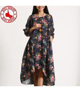 Unregelmäßige Baumwoll Leinen Steppung Imitat Kleid