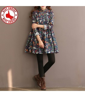 Long sleeve floral printed cotton linen dress