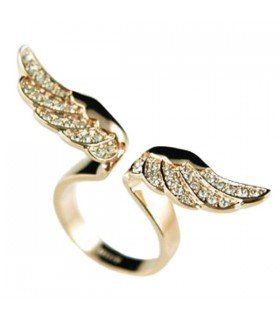 Angel wings rhinestones ring
