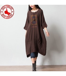 Brown embroidered linen casual dress