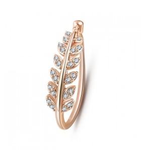 Foglia d'oro zircone anello placcato