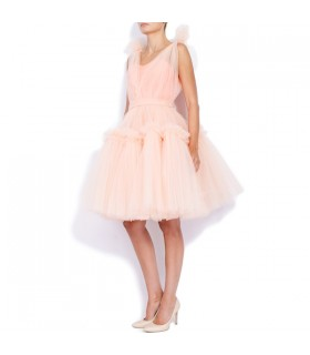 Rich pink tulle trimmed dress