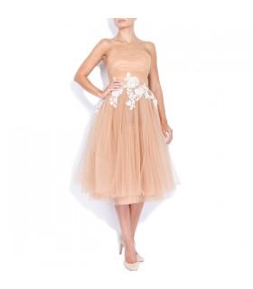 Midi Tüll Kleid mit handgenähten Applikationen