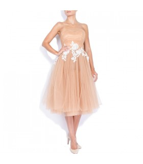 Midi tulle dress with hand-sewn applications