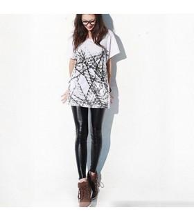 Style noir de cuir leggings