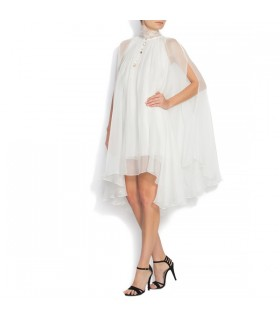 Fluid white silk mini wedding dress