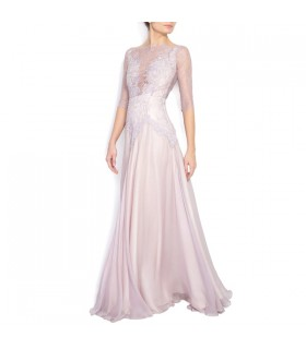Embroidered chantilly lace silk georgette gown