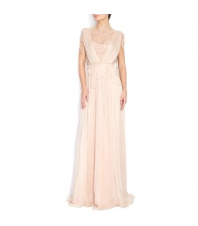 Embellished silk-chiffon hand-sewn Chantilly lace gown