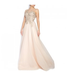 Embroidered tulle ivory gown