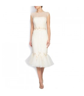Embellished silk and tulle midi dress