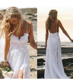 Spaghetti strap beach bohemian wedding dress