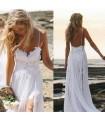 Spaghetti strap beach bohemian wedding dress