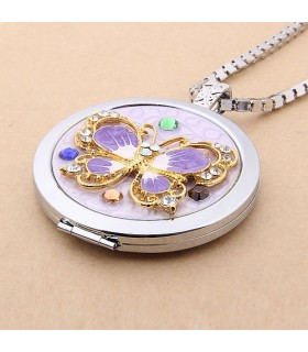 Make-up Mirror Necklace butterfly
