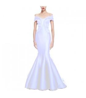 Duchesse stretch off longueur robe de mariée volants épaule étage