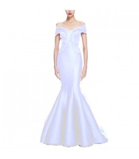Stretch duchess off shoulder ruffles floor length wedding dress