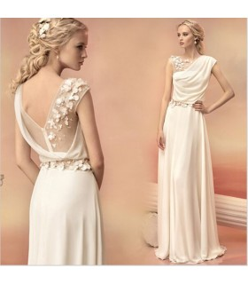 Greek goddess elegant champagne wedding dress