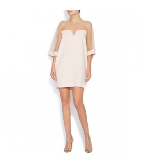 Tulle-paneled crepe mini dress