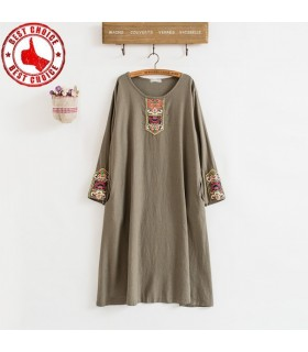 Three quarter sleeve linen emboidered dress