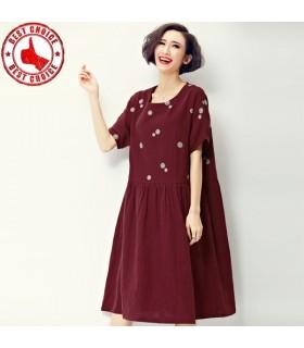Kurzarm rot Leinenkleid