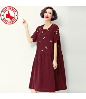 Short sleeve red linen dress