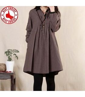 Cotton linen loose dress