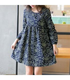 Autumn printed flower linen dress