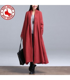 Linen long trench coat