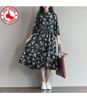 Gedruckte Blumen Chiffon Kleid