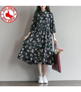 Printed floral chiffon dress