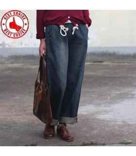 Cotone elastico in vita i pantaloni denim harem