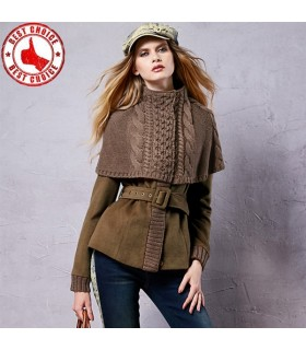 Autumn knitted patchwork coat