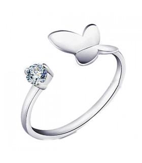 Anello in argento formato libero farfalla