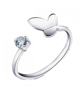 Butterfly free size silver ring