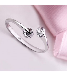 Silver plated two crystal free size ring