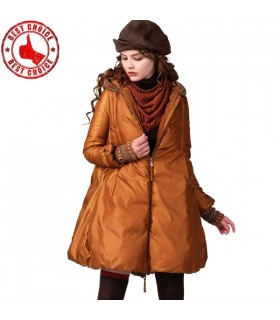 A-ligne large cintré duvet de canard manteau blanc doux