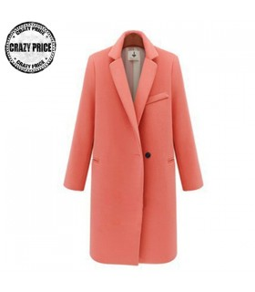 Single button elegant warm pink coat