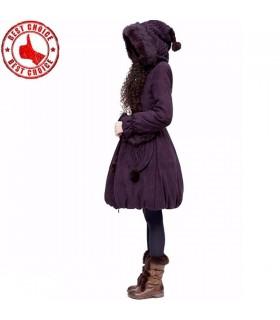 Suede imitation duvet de canard blanc manteau violet