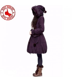 Suede imitation white duck down purple coat