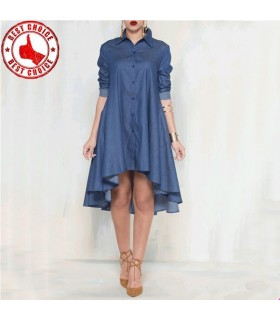 Irregular denim shirt type dress