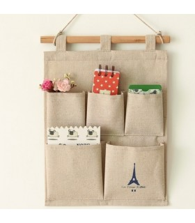 Cotton fabric tower hanging 5 pocket organizer