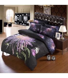 Schwarzer Hintergrund und lila Blume Bettwäsche