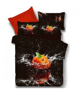 Black Bed sheets orange print